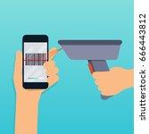 a barcode scanner scanning a... | Shutterstock .eps vector #666443812