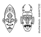 african masks of savages... | Shutterstock .eps vector #666447232