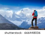 active hiker hiking  enjoying... | Shutterstock . vector #666448036
