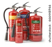 fire extinguishers isolated on... | Shutterstock . vector #666448966