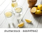 composition with cold lemon... | Shutterstock . vector #666449662