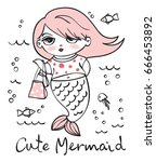 summer card with cute mermaid.... | Shutterstock .eps vector #666453892