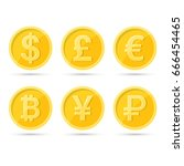 a set of icons of coins on the... | Shutterstock .eps vector #666454465