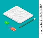 notebook  pencil  eraser ... | Shutterstock .eps vector #666454486