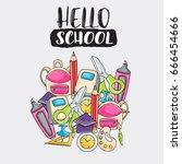 hello school doodle clip art... | Shutterstock .eps vector #666454666