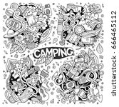 camping nature hand drawn... | Shutterstock .eps vector #666465112