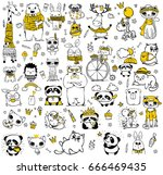 Stock vector vector set of cute doodle hipster animals perfect for greeting cards design t shirt prints and 666469435