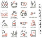 vector set of linear icons... | Shutterstock .eps vector #666471718