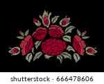 embroidered red flowers. roses. ... | Shutterstock .eps vector #666478606