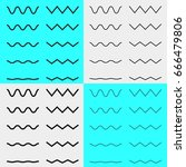 set of wavy   curvy and zigzag  ... | Shutterstock .eps vector #666479806