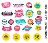 sale shopping banners. online... | Shutterstock .eps vector #666484588