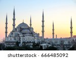 the blue mosque or sultan ahmed ... | Shutterstock . vector #666485092
