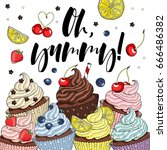 cupcakes line drawn on a white...   Shutterstock .eps vector #666486382