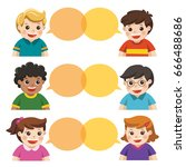 group of happy smiling kids... | Shutterstock .eps vector #666488686
