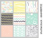 hand drawn pattern collection.... | Shutterstock .eps vector #666488932