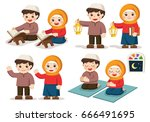 muslim boy and girl reading... | Shutterstock .eps vector #666491695