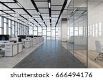 loft open space office interior ... | Shutterstock . vector #666494176