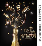 vip party invitation shiny... | Shutterstock .eps vector #666499576