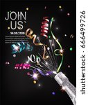 invitation card with sparkling  ... | Shutterstock .eps vector #666499726