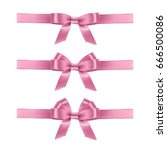 set of realistic pink ribbons... | Shutterstock . vector #666500086