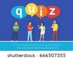 quiz flat concept vector... | Shutterstock .eps vector #666507355