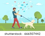 man walking with dog outdoors... | Shutterstock .eps vector #666507442