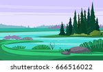 wild nature with lake and... | Shutterstock .eps vector #666516022