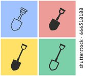 shovel vector icon with long... | Shutterstock .eps vector #666518188