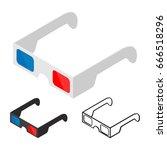 3d glasses of flat style... | Shutterstock .eps vector #666518296