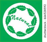 natural logo with green leaves... | Shutterstock .eps vector #666528592