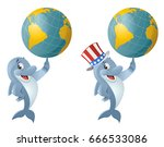 dolphin in the patriotic hat... | Shutterstock .eps vector #666533086