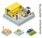 isometric delivery concept with ... | Shutterstock .eps vector #666534736