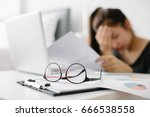 stressed asia woman with... | Shutterstock . vector #666538558
