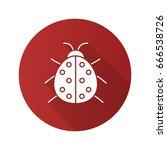 ladybug flat design long shadow ... | Shutterstock .eps vector #666538726