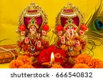 the lord ganesha and goddess... | Shutterstock . vector #666540832