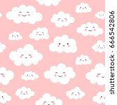 cute cloud seamless pattern... | Shutterstock .eps vector #666542806