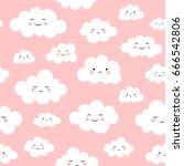 Stock vector  cute cloud seamless pattern vector 666542806