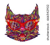 ornament face of fashion cat... | Shutterstock .eps vector #666542932