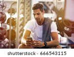 young handsome man using phone... | Shutterstock . vector #666543115