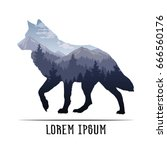 Silhouette of a wolf and wildlife. Vector illustration with mountain landscape. Double exposure with forest and mountain landscape. | Shutterstock vector #666560176