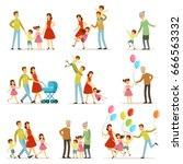 big happy family with mother ... | Shutterstock .eps vector #666563332
