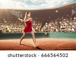 female tennis player in pink... | Shutterstock . vector #666564502