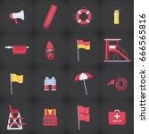 lifeguard equipment kit flat... | Shutterstock .eps vector #666565816
