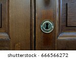 key hole for wooden door | Shutterstock . vector #666566272