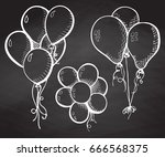 group of balloons on a string.... | Shutterstock .eps vector #666568375
