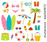 Cute Beach Elements Vector