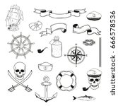 sea objects set vector... | Shutterstock .eps vector #666578536