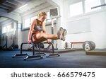 fitness woman doing l sit... | Shutterstock . vector #666579475