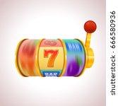 golden slot machine wins the... | Shutterstock .eps vector #666580936