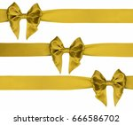 three gold gift bows with... | Shutterstock . vector #666586702